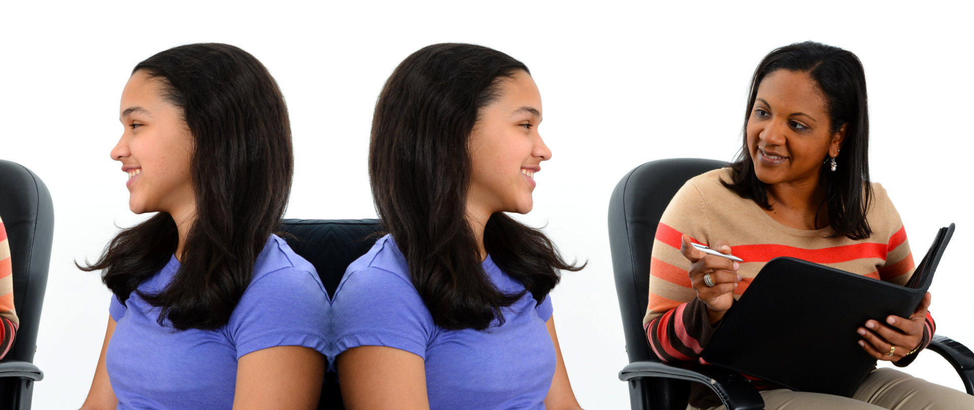 counselor talking to a young woman